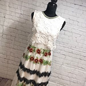Desigual floral overlay dress with crochet top
